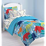 dream FACTORY Kids 5-Piece Complete Set Easy-Wash Super Soft Comforter Bedding, Twin, Multicolor Dinosaur Prints