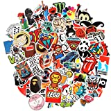 Laptop Stickers 100 pcs Cool Stickers Pack Vinyl Waterproof Stickers for Skatebaord Computer Car Motorcycle Bicycle Luggage D
