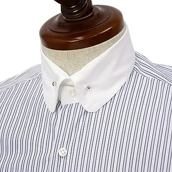 [Maria Santangelo【マリアサンタンジェロ】]ドレスシャツ BYRON PINS PIUMINO 100-120 F357109 15BB コットン オルタネイトストライプ クレリック ブルー×ホワイト(37)