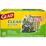 Glad Tall Kitchen Drawstring Recycling Bags - 13 Gallon Clear Trash Bag - 45 Count
