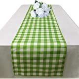 Green Gingham Table Runner 72 Inch - Buffalo Check Table Runner for Dining Table Decorations - Cotton Linen Checkered Table R
