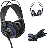 AKG M220 Pro Stylist Professional Large Diaphragm DJ Semi-Open High Definition Over-Ear Studio Headphones - Blue
