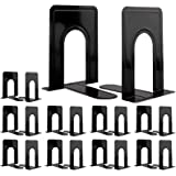 Jekkis Metal Bookends, 10 Pairs/20 PCS Heavy Duty Bookends, 6.6 x 5.7 x 4.9 inches Black Bookend Supports, Nonskid Bookends f