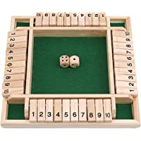 Winwinfly 1セット4面の大きな木のボードゲーム、8つのサイコロとシャットザボックスルール数字を学ぶためのスマー…
