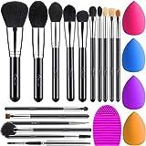 BESTOPE 16Pcs Makeup Brushes Set, 4Pcs Beauty Blender Sponge Set and 1 Brush Cleaner, Premium Synthetic Foundation Brushes Bl