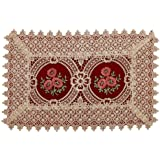 Simhomsen Vintage Look Burgundy Lace Table Placemats Doilies Rectangle 12 By 18 inch Set Of 6