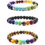 Mayting 3 Pcs Natural Stone Tiger Eye - Healing Reiki Chakra Charm Bracelet Men Bracelet Women Bracelet