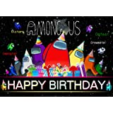 5 x 3 Ft Among Backdrop Banner Photography Background Video Gaming Us Themed Birthday Party Decoration Supplies for Indoor Ou