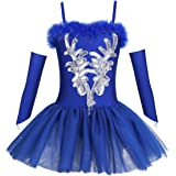 TiaoBug Girls Sequined Beads Swan Ballet Dance Leotard Tutu Dress Costume with Gloves Hair Clip