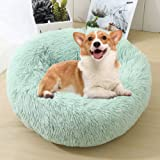 Calming Bed for Dogs, Donut Cuddler Dog Bed Small Medium Large Orthopedic Pet Bed Self Warming Round Fluffy Plush Pillow Impr