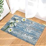 Indoor Doormat Front Door Welcome Mat Farm Field Dreamy Daisy Blue Vintage Wood Board Live Love Laugh Non Slip Floor Mat Entr