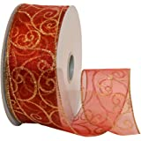 Morex Ribbon Swirl Wired Sheer Glitter Ribbon, 2-1/2-Inch by 50-Yard Spool, Red/Gold