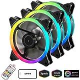 upHere RGBシリーズケースファン、ワイヤレスRGB LED 120mmファン、PCケース - 3パック、RGB123-3用の静かなエディション高風量調節可能な色LEDケースファン