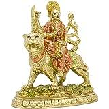 Hindu-Goddess Small Durga Statue - Indian Eastern Enlightenment Durga on Tiger Figurines Decoration - Hinduism Goddess Home T