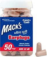 Mack's Ultra Soft Foam Earplugs, 50 Pair - 32dB Highest NRR, Comfortable Ear Plugs for Sleeping, Snoring, Work, Travel...