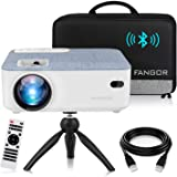 FANGOR HD Bluetooth Projector, 2020 Latest Update 5500 Lux Portable LCD Projector with Carrying Bag and Tripod, Compatible wi