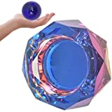 Crystal Ashtray Cigarette Ash Tray – Blue Ashtray with Stress Relief Ball for Outdoor, Indoor, Patio, Home, Tabletop, Office