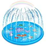 Upgraded Sprinkler for Kids, Sprinkler Pad & Splash Play Mat, Splash Pad, 170cm Toddler Water Toys Fun for 1 2 3 4 5 Year Old