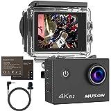 MUSONスポーツカメラ 4K高画質 手振れ補正 30M防水 WiFi搭載 170度広角レンズ1050mAh容量 ウェアラブル/アクションカメラ