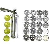 HUAFA 20 Discs & 4 Nozzles Silicone Cookie Press Pump Machine Biscuit and Icing Press Set Aluminum