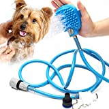 Pet Bathing Tool, Pet Shower Sprayer & Scrubber in-One, Shower Bath Tub & Outdoor Garden Hose Compatible, Dog Cat Horse Groom