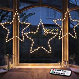 MAOYUE Window Lights 3 Pack Christmas Window Star Lights with Timer Battery Operated Christmas Decorations 8 Lighting Modes w