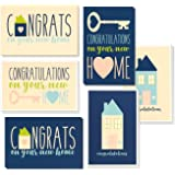 36 Pack House Warming Congratulations On Your New Home Greeting Cards, 6 Unique Style Designs, Bulk Box Set Variety Assortmen