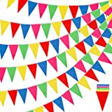 RUBFAC 1020Ft 720PCS Colorful Flag Pennants Multicolor Rainbow Pennant Banner Nylon Cloth Banner for Grand Opening, Party Cel