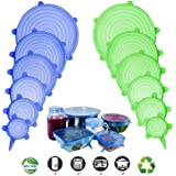 Silicone Stretch Lids, Adpartner 12 Pack of Various Sizes BPA Free Silicone Lids Reusable Container Lids Food Covers to Fit A