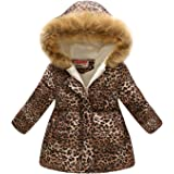 Camidy Toddler Girls Winter Coats Clothes Warm Outwear Jacket Thick Windproof Parka Hooded for 3-12 Years Old