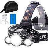 Cobiz Headlamp Flashlight USB Rechargeable - LED Brightest High 6000 Lumen Work Headlight,18650 Waterproof Flashlight with Zo
