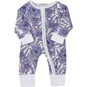 3720bc9397117 紫色 花柄 男女兼用 ロンパース ベビー服 女の子 赤ちゃん服 幼児 子供服 男の子 丸首 ジッパー
