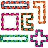 Wacky Tracks Sensory Fidget Toys Snap and Click Fidget Cube Puzzles Bulk Set of 6 - ADHD, Autism, Stress Relief Therapy - Fid