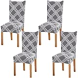 Fuloon Removable Washable Dining Chair Protector Cover Seat Slipcover for Hotel Dining Room Ceremony Banquet Wedding Party (4
