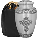 Grace and Mercy Pewter Cross Adult Cremation Urn for Human Ashes - A Warm and Lovely Large Urn with a Hand Crafted Classy Fin
