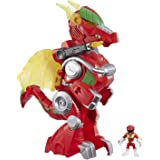 "POWER RANGERS - Playskool Heroes - 3"" Red Ranger and 14"" Dragon Thunder Zord - Lights & Sounds - Mighty Morphin Power Rangers"