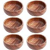 不二貿易(Fujiboeki) 小鉢 ラウンドボウル アカシア S ブラウン 直径10cm 6個セット 40363