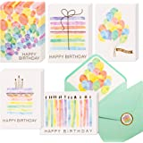 100 Happy Birthday Cards, Assorted Watercolor & Gold Foil Blank Birthday Notes Pack, Bulk Boxed Assortment Set of Greeting No