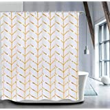Fabric Shower Curtain Set with 12 Hooks Geometric Patterned Shower Curtain Machine Washable Decorative Bathroom Curtain Gold