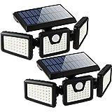 Solar Lights Outdoor with Motion Sensor, 3 Heads Security Lights Solar Powered, 70 LED Flood Light Motion Detected Spotlight