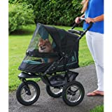 Pet Gear No-Zip NV Pet Stroller for Cats/Dogs, Zipperless Entry, Easy One-Hand Fold, Air Tires, Plush Pad + Weather Cover Inc