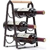 KINGRACK Countertop Wine Rack, Tabletop Wood Wine Holder for 6 Bottle Wine, 3-Tier Classic Design, Perfect for Home Decor, Ba