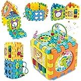 ADULi 赤ちゃんおもちゃ 多機能形合わせ 知育玩具 リングビーズコースター 音と光 立体 パズル 楽器おもちゃ ブロック 6面に12種遊び 早期開発 指先訓練 聴覚発達 色認知 動物認知 図形認知 ラーニングボックス 男の子 女の子 1歳児 おも