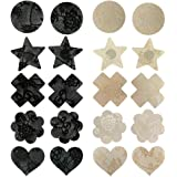 TINKSKY Pasties Bra Disposable Sexy Flower Pasties Self Adhesive Stickers Nipple Cover Stickers 10 Pairs Black Nude