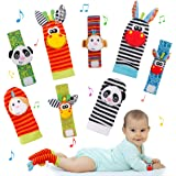 FancyWhoop Baby Socks Toys Wrist Rattle and Foot Finder Developmental Early Educational Toys Set Gift for Infant Newborn Girl
