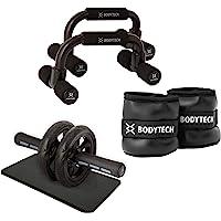 ボディテック(Bodytech) 腹筋ローラー 膝保護マット付き 耐荷重200kg 超静音 ダブルローラー エクササイズ…