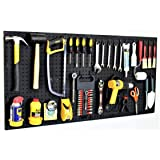 """WallPeg 48"""" Wide Pegboard Kit with 2 Panels & 25 Locking Peg Board Hooks and Panel Set - Tool Parts and Craft Organizer"""