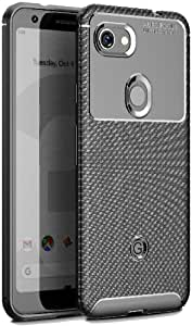 【FINON】 スマホケース Google Pixel 3a 専用 ケース カバー 【 カーボン デザイン (素材/TPU) 】 指紋防止 薄型 軽量 耐衝撃 簡易脱着 ソフトケース カラー:ブラック