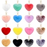 JOYYPOP 16 PCS Pom Poms Keychains Fluffy Heart Shape Faux Fur Colorful Pom Pom Balls for Girls Women (Mix Colors)
