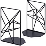 RooLee Heavy Duty Bookends Nonskid Decorative Book Ends Supports for Office Home School Dorm 4.7 x 3.2 x 7 inch Black